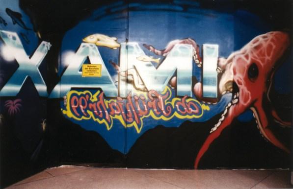 Zootiere, Unterwasser und Abenteuermotive auf 5 x 50 m (250 qm) Imax Thema als Spiegelbild Zeilgalerie Frankfurt Dachterrasse 1998