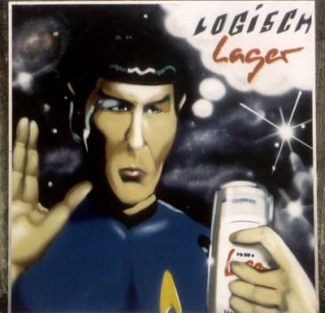Logisch, Lager … Binding Lager 1995 200 x 200 cm, spraycan on wood
