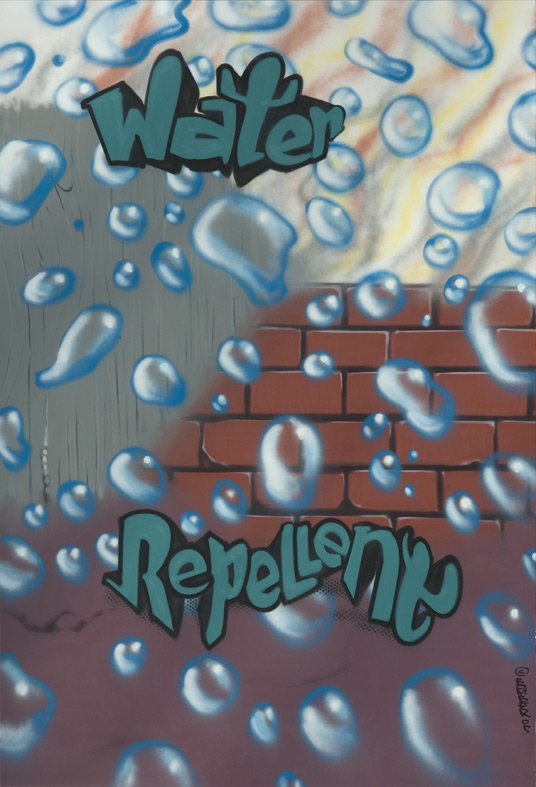 Dow Corning 200 x 300 cm Water-repellent, Spraycan on canvas
