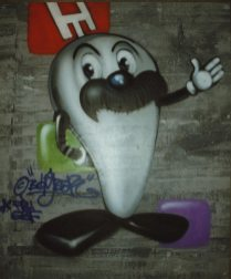 Onkel Otto, Hessischer Rundfunk, Studio Kassel 1999, spraycan on framed canvas