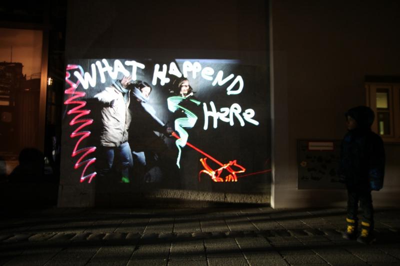 »What happened here« Bomber feat. Lichtfaktor, LumaPaint Station @ Bomber LuxUs, Haus des Buches, Luminale Frankfurt 2016