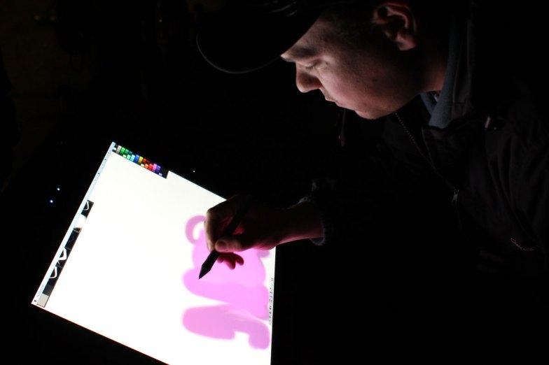 »Paint Station« Bomber feat. Lichtfaktor, LumaPaint Station @ Heyne Fabrik, Luminale Offenbach 2012