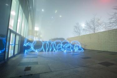 Luma Paint Public Light Graffiti as Lightpainting, London Winter Lights, Canary Wharf, 2017
