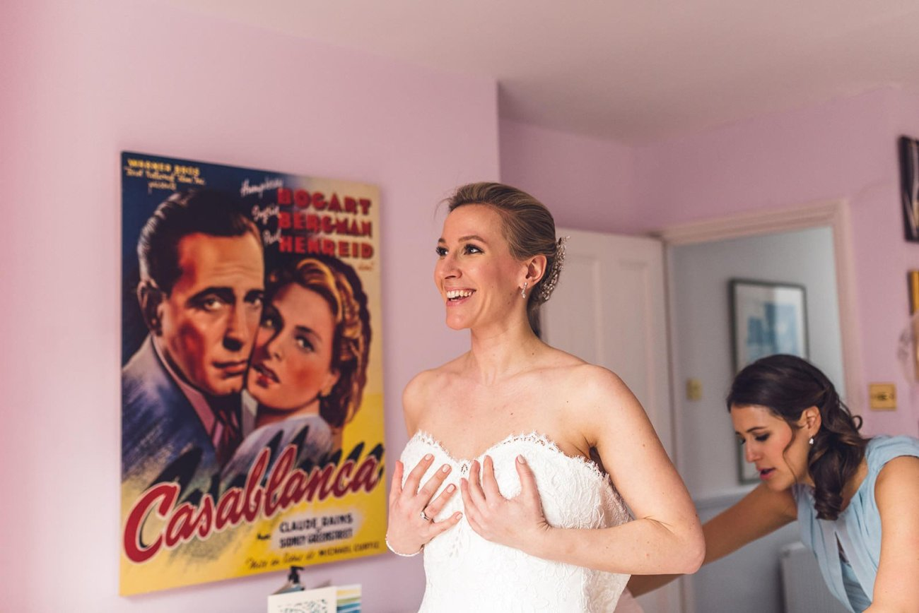 Colourful bridal portrait in front of Casablanca poster