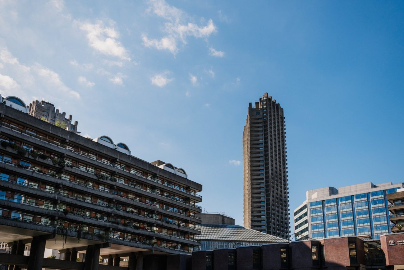 Blue sky and Barbican Estate London