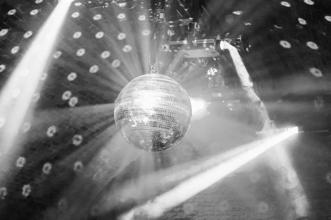Glitter disco ball, Shoreditch wedding