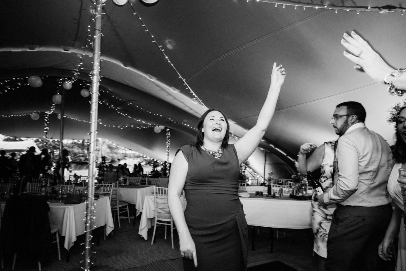 Lady dancing Lake Windemere wedding