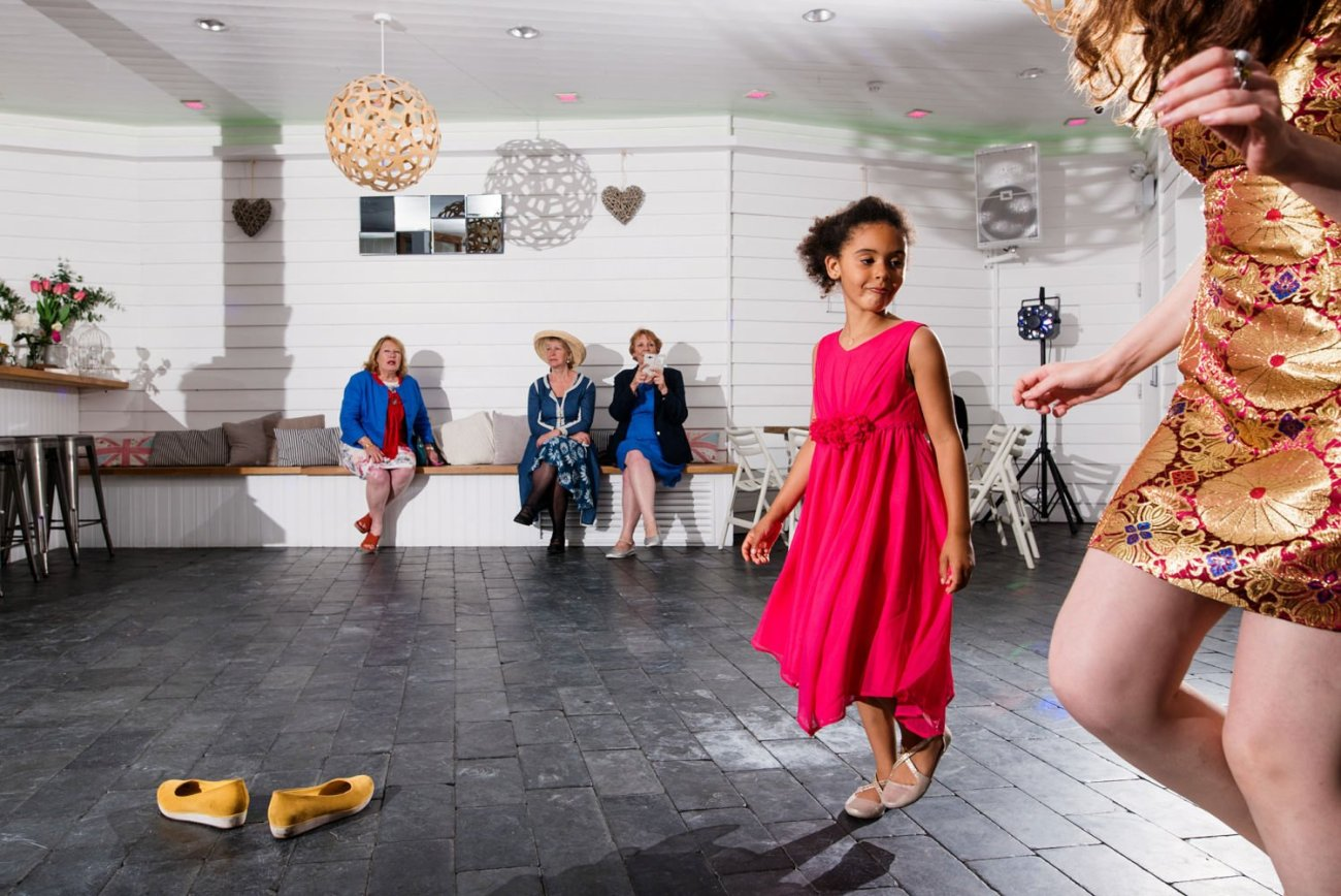 Quirky colourful documentary wedding photography Devon