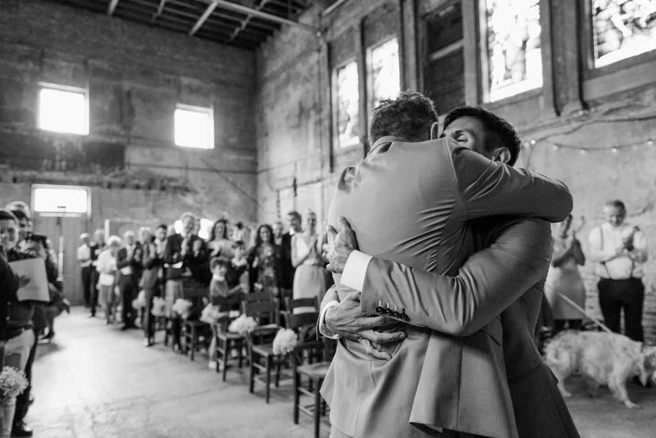 Same sex story telling wedding photography London warehouse