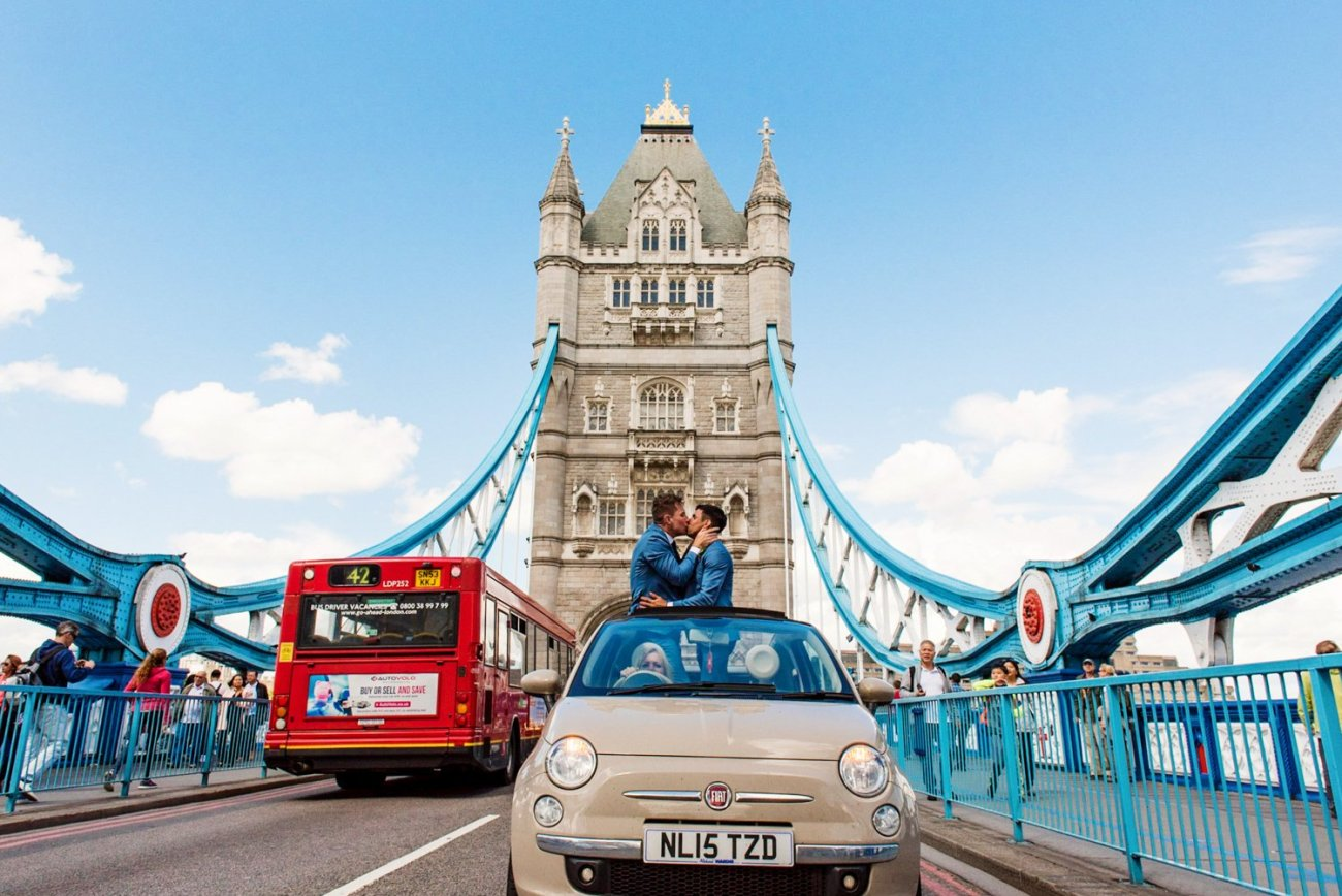Quirky storytelling same sex London wedding photography