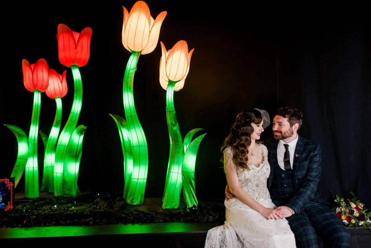 Bride and groom light installation christmas wedding ideas
