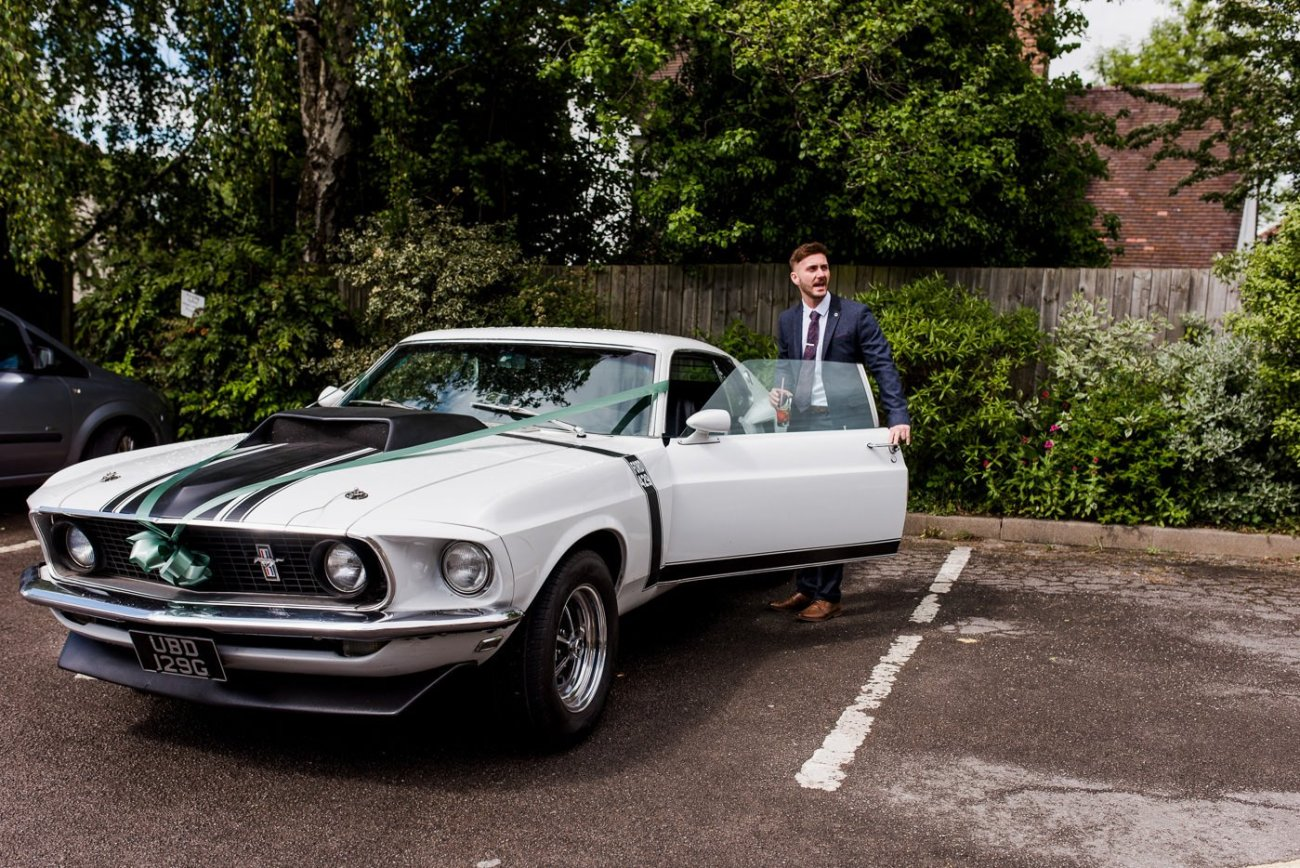 vintage mustang paintworks wedding photographer