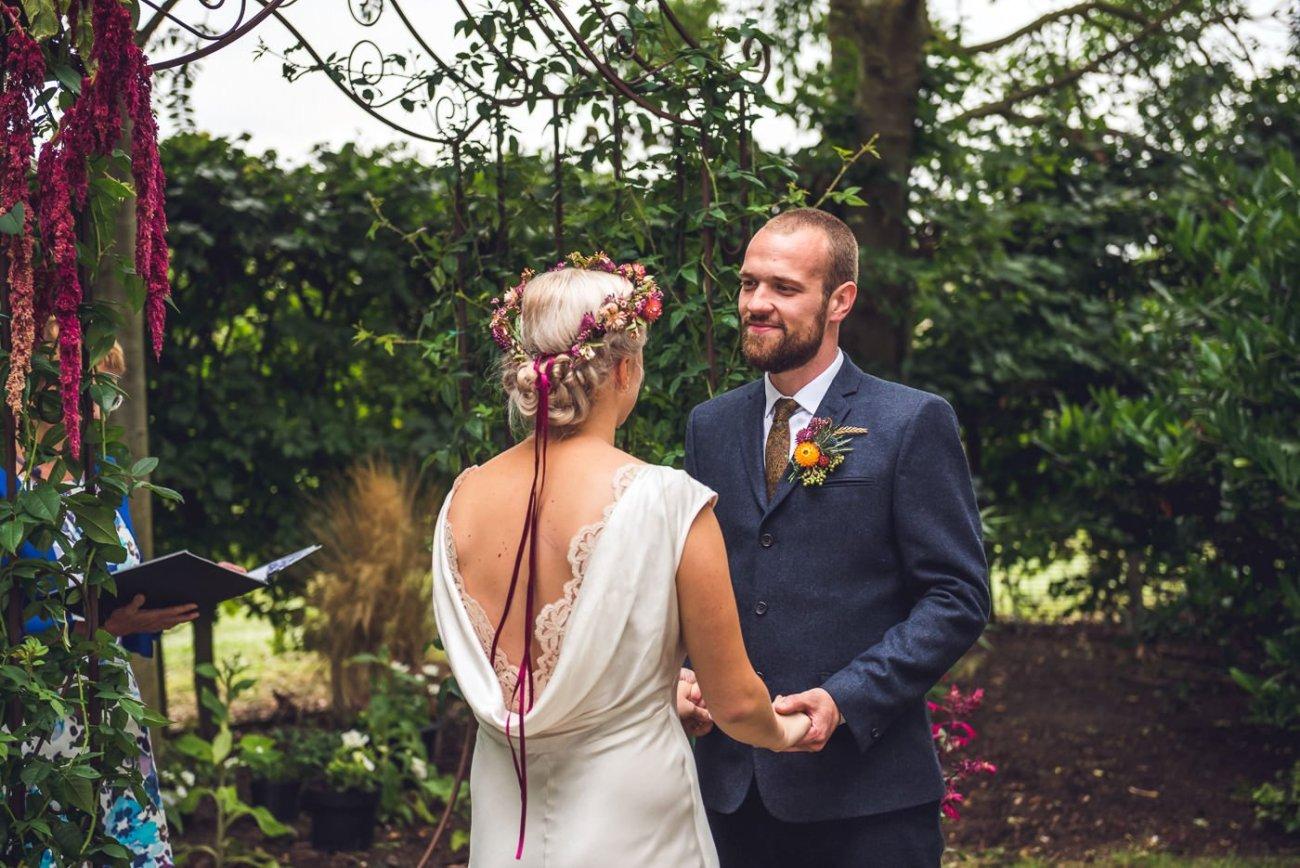 Alternative wedding photographer back garden wedding