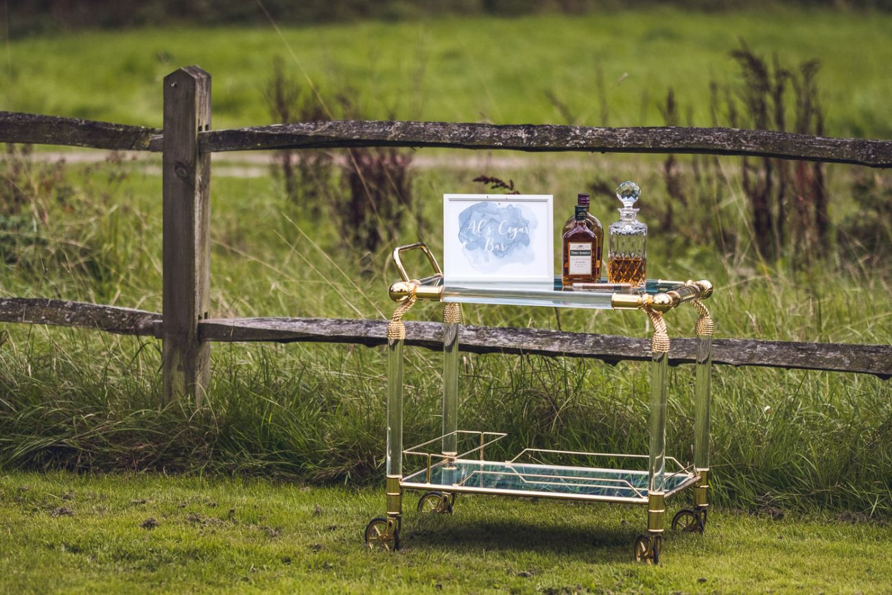 Cigar and whisky bar ridge farm wedding