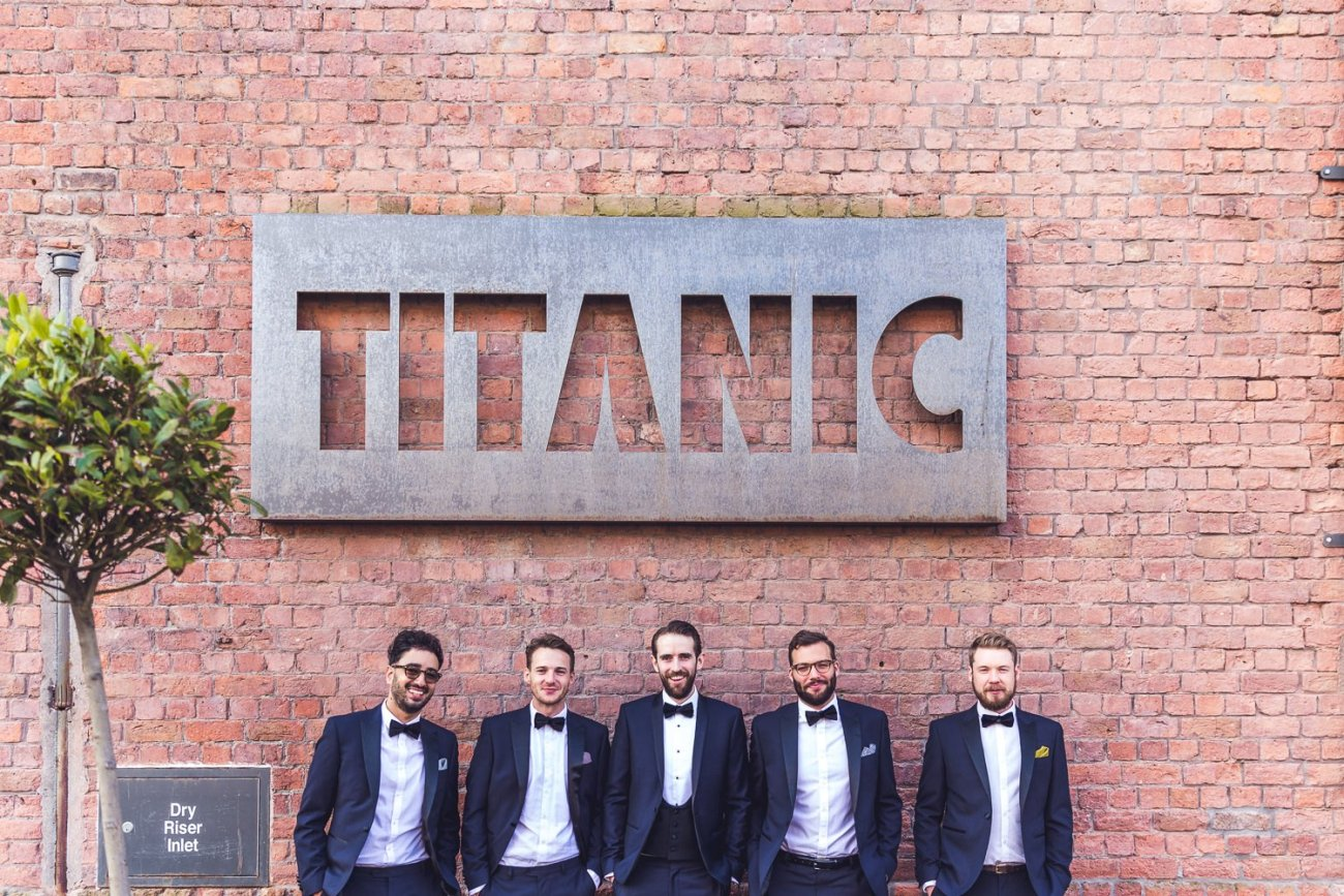Groom and grooms men in Tuxedos in Liverpool