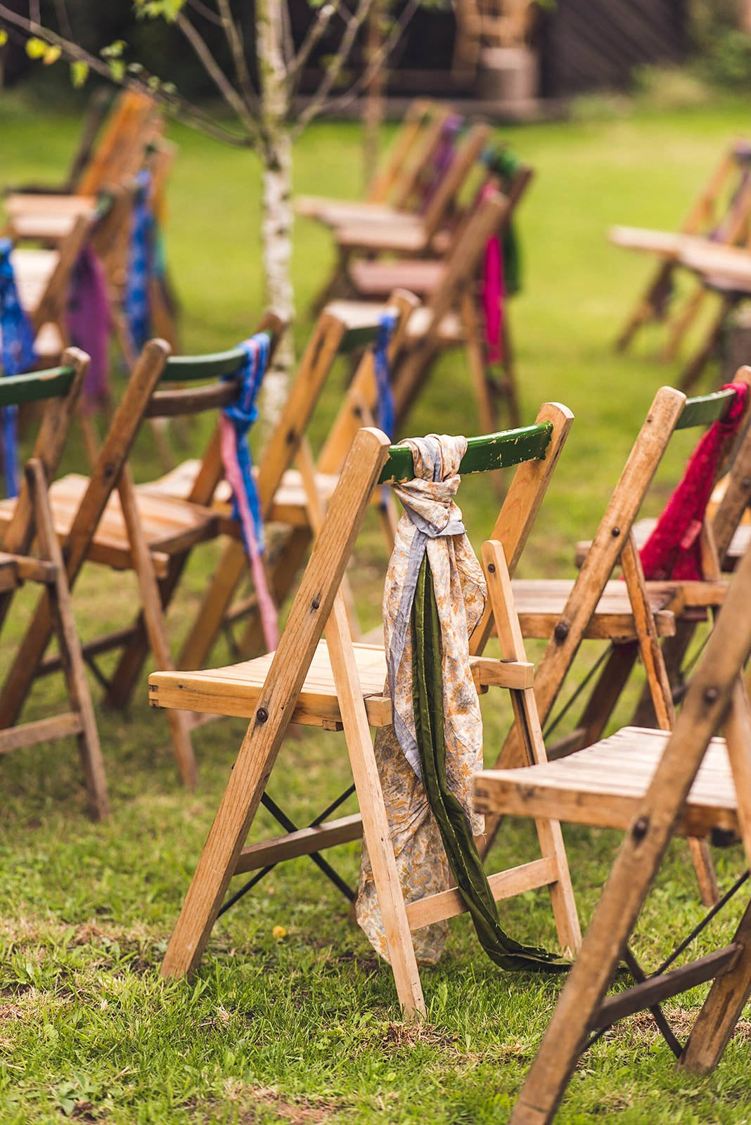 Rustic chairs for outdoor ceremony at keeper and the dell norfolk