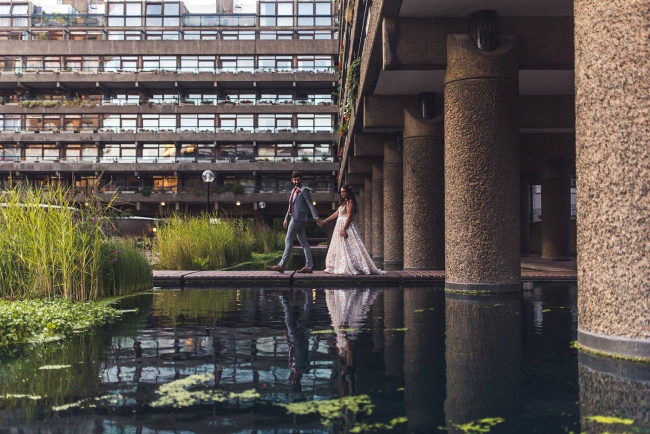 Creative bride and groom portrait at Barbican Conservatory Wedding