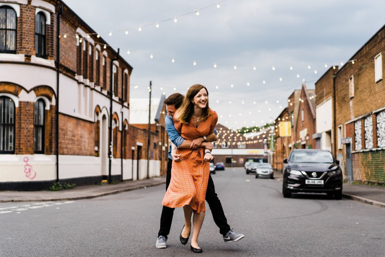 Digbeth Engagement Photography couple laughing