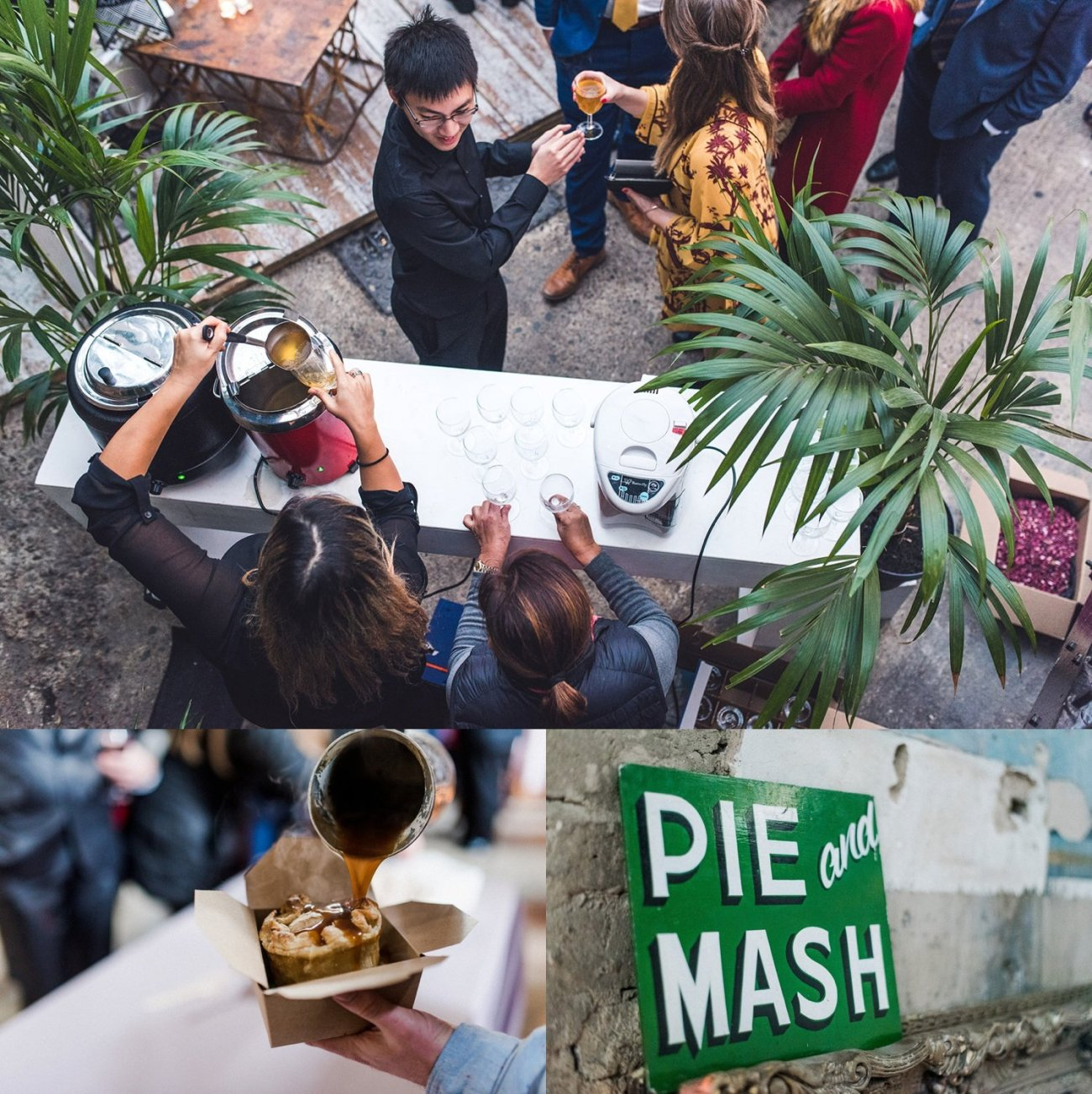 Mulled cider and pie and mash served at winter wedding