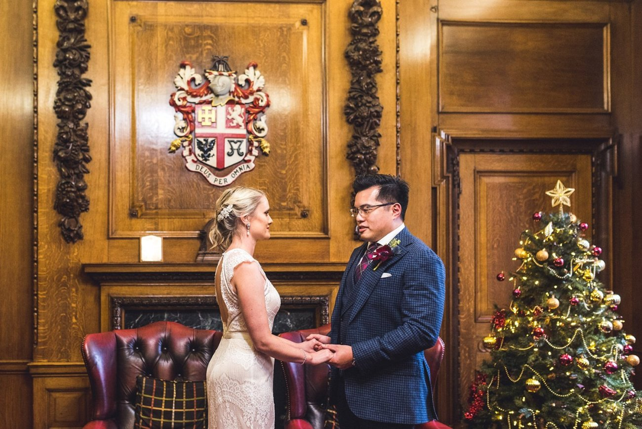 Christmas wedding ceremony at The Mayors Parlour An Intimate Islington Town Hall and Aulis London wedding