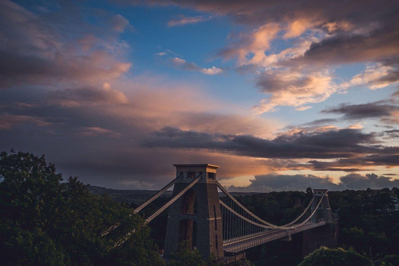 Clifton Suspension Bridge Engagement Shoot sunset