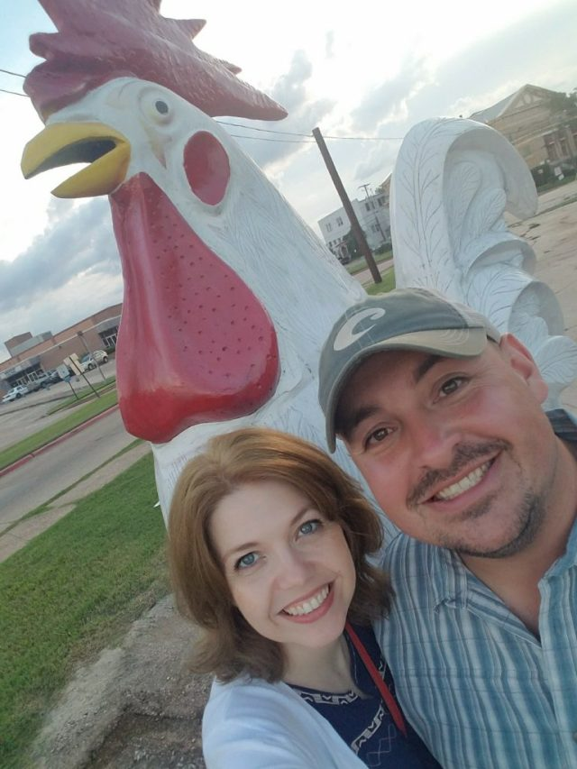 BabeInThePines.com Babe & Sparky with 9 foot Rooster in Shreveport, LA