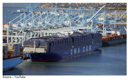 """Loads of 'Em – Every segment of industry is busy planning on putting a sensor somewhere and the consumer electronics industry is leading the way. They have plans for so many that even CMA CGM's megaship Benjamin Franklin, shown docked in Long Beach , can carry 18,000 containers filled with sensors could last """"a little while."""""""