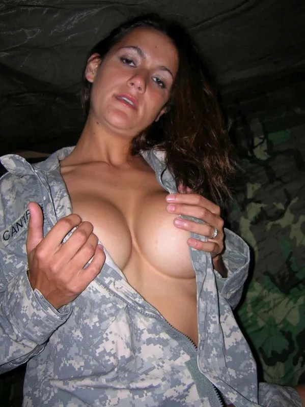 Great Tits Army Babe Blonde Dressed