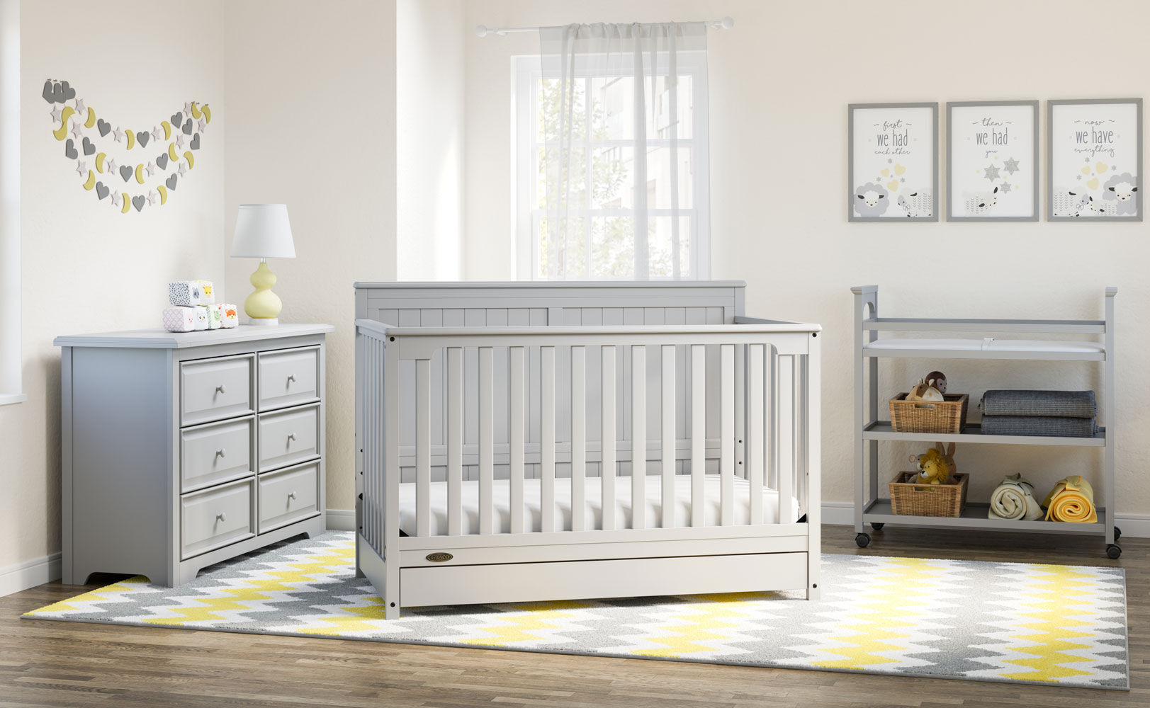 graco hadley 4 in 1 convertible crib with drawer pebble grey