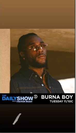Burna Boy Set to perform on The Daily Show
