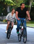 Jennifer Lopez and Alex Rodriguez on a bike ride in Bel Air