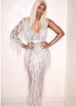 Tiwa Savage Sizzle In This Crystal Sheer Dress