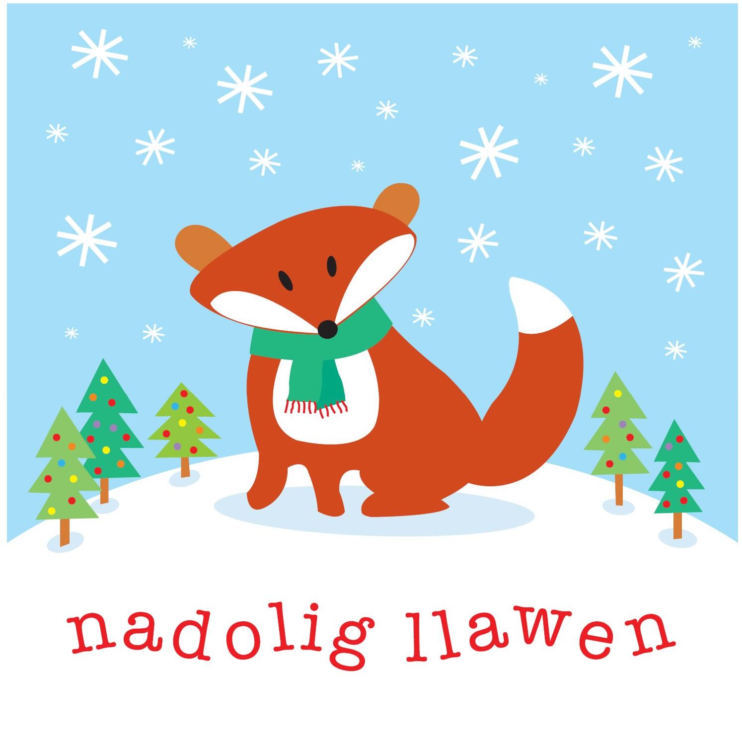Babipur Fox Nadolig Llawen Card