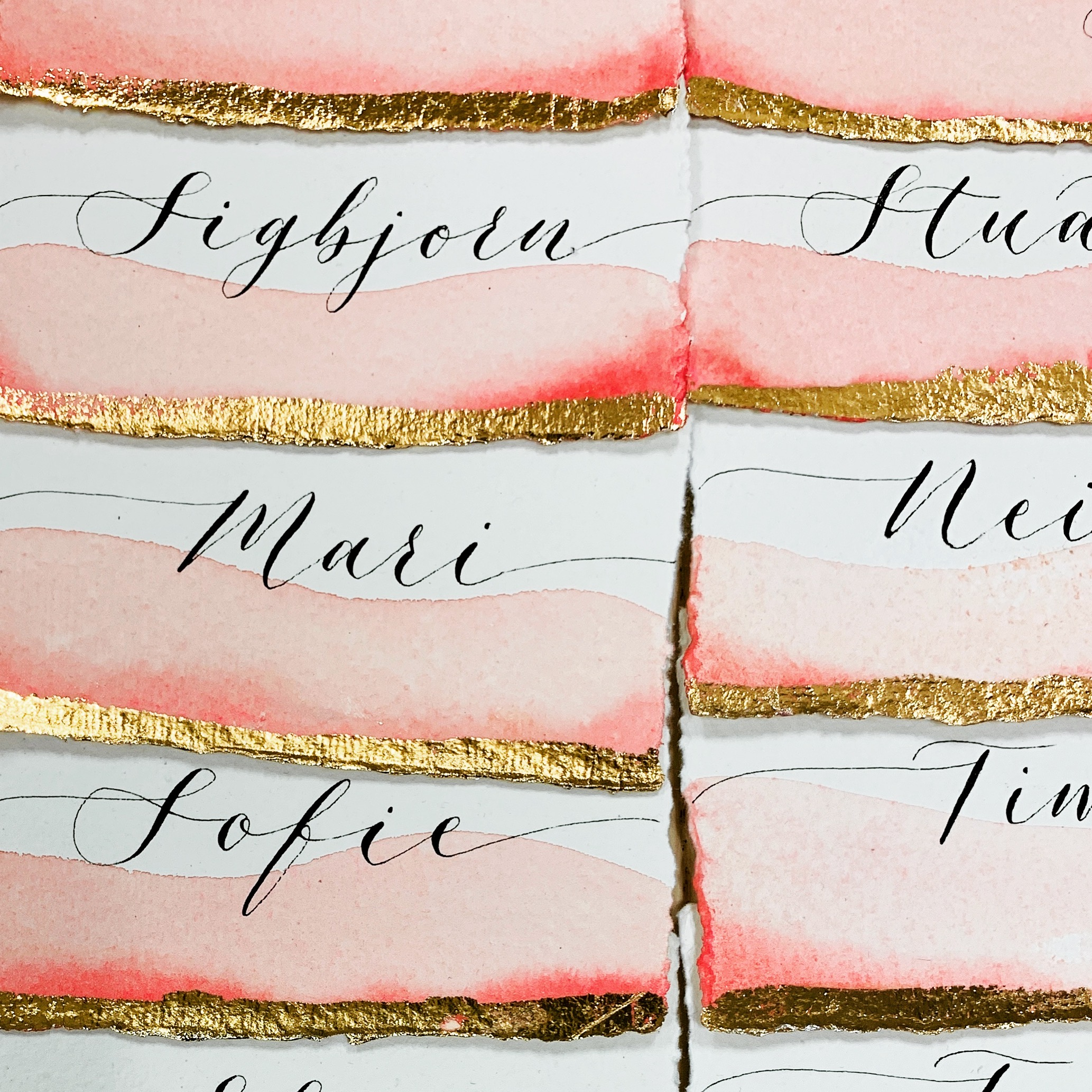 Wedding Place Cards handmade paper watercolour and gold foil