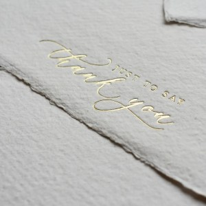 Gold foil handmade paper thank you cards