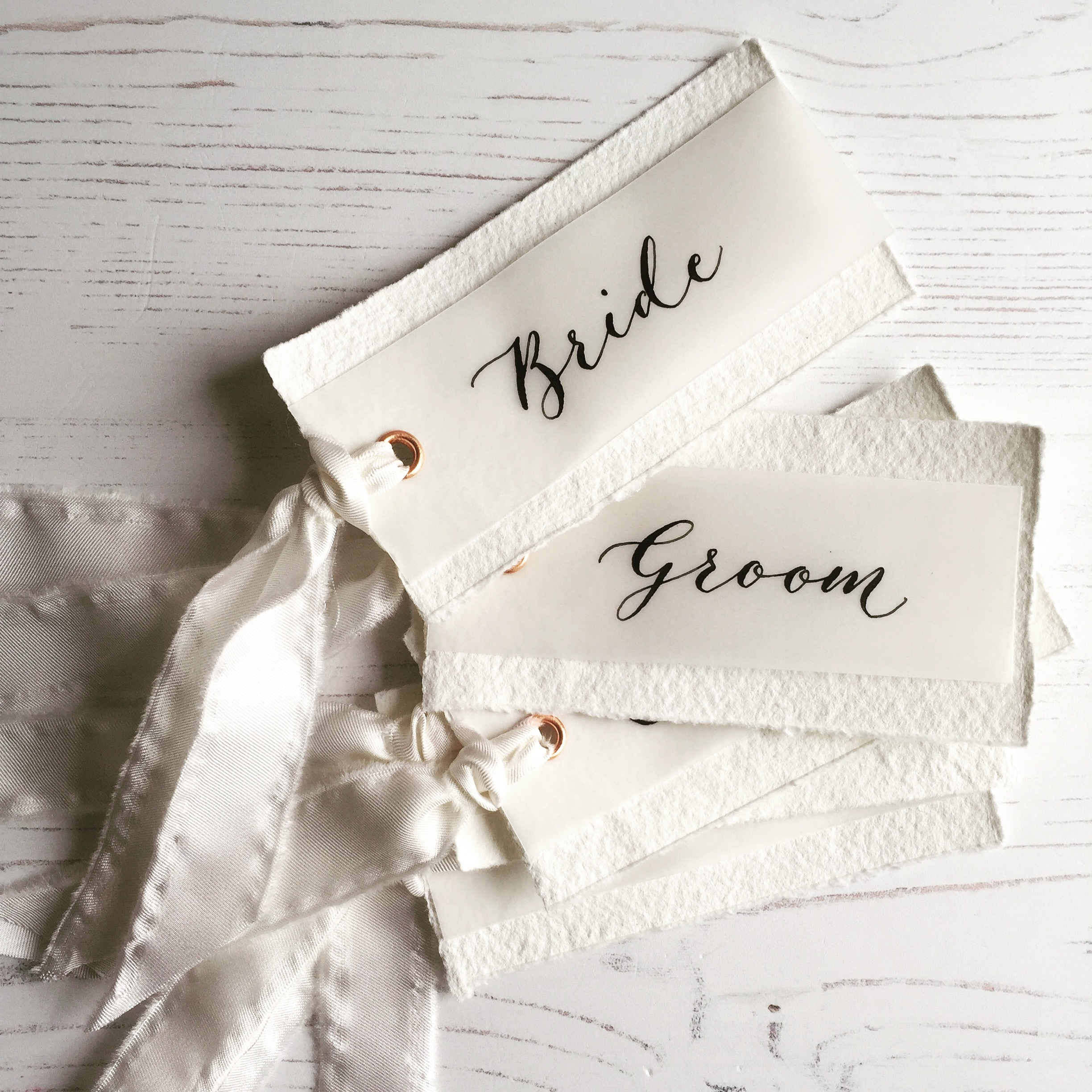 Wedding Place cards handmade paper, vellum, silk, calligraphy