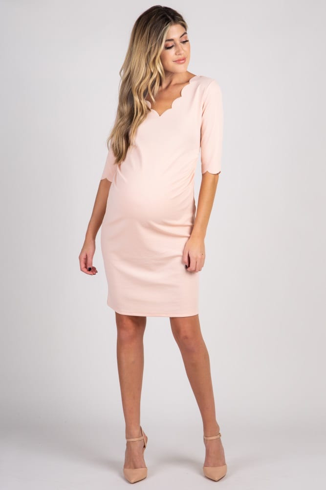 PinkBlush Light Pink Solid Scalloped Trim Fitted Maternity Dress