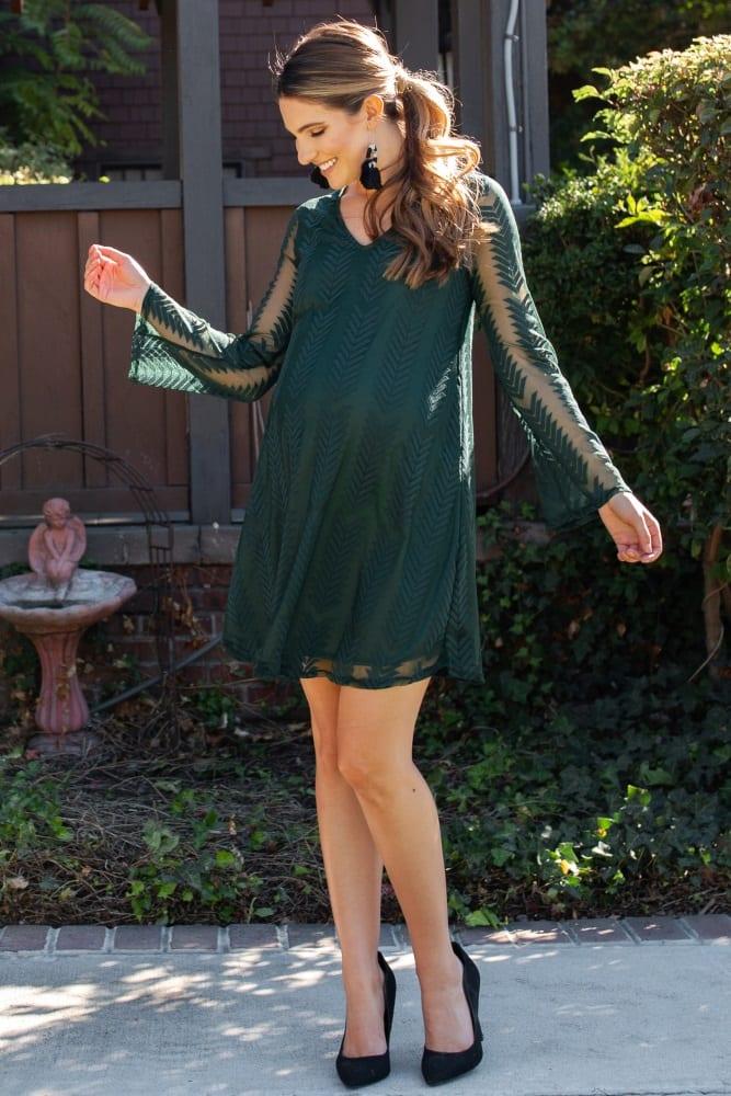 PinkBlush Green Chevron Mesh Overlay Maternity Dress