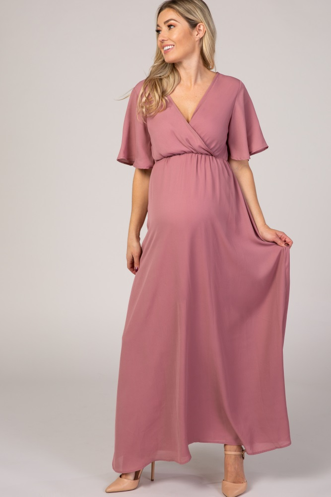 Mauve Chiffon Bell Sleeve Maternity Maxi Dress