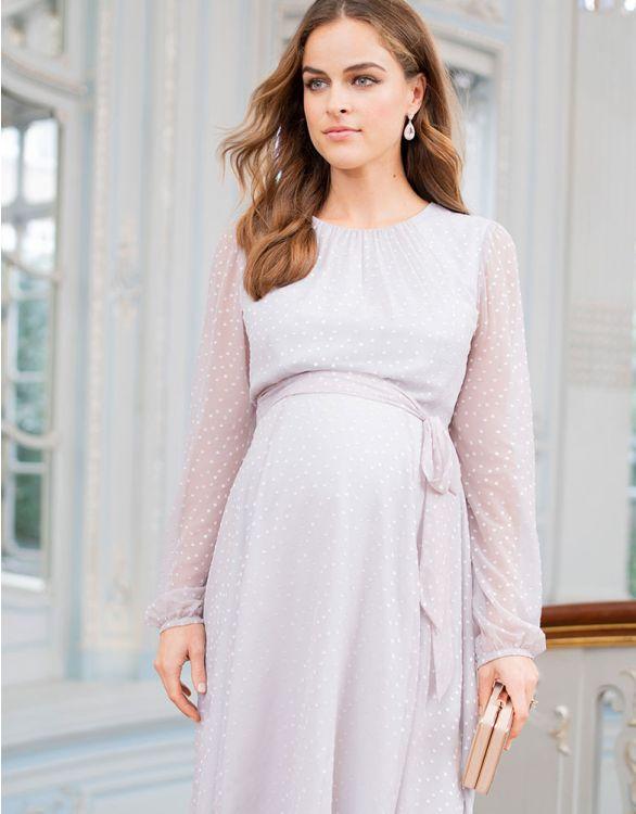 Satin Polka Dot Maternity Dress