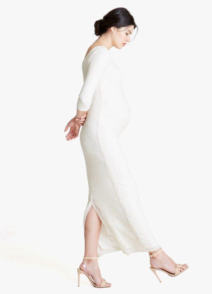 Lace Ballet Neck Maternity Column Dress