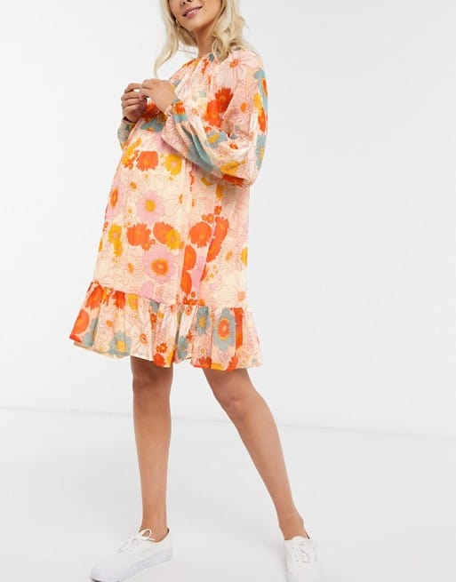 Tiered Smocked Maternity Dress in Retro Floral