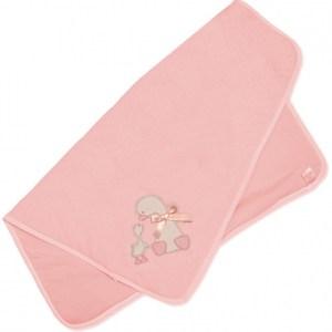 Snuggle Baby babydeken eend 70 x 70 cm roze
