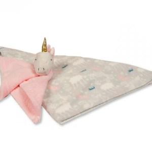 Snuggle Baby babydeken met unicorn knuffeldoekje grijs/roze set 2-delig