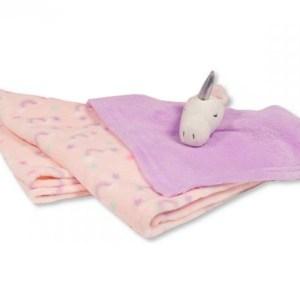 Snuggle Baby babydeken met unicorn knuffeldoekje roze/lila set 2-delig