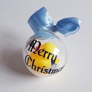 kerstbal met naam Eendje Blauw