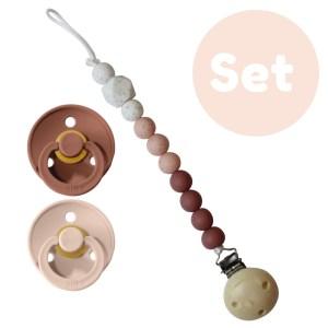 Blush set 0-6 mnd 2x Bibs speen + 1x speenketting