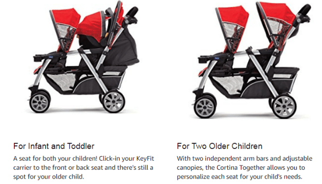 best double stroller for infant and toddler by Chicco