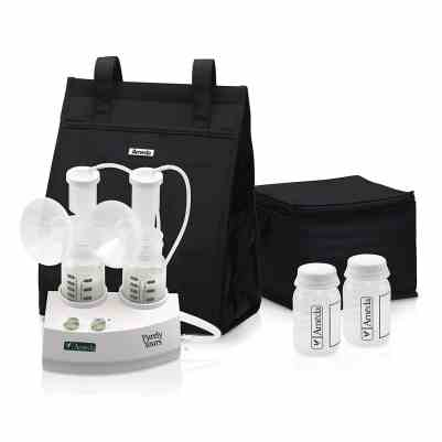 Ameda Purely Yours Double Electric Breast Pump White Includes Breast Pump Dual HygieniKit System Shoulder Bag Cool N Carry Milk Tote AC Power Adapter Milk Storage Bottles Ice Packs