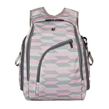 ECOSUSI Diaper Backpack Fully opened Baby Diaper Bag with Changing Pad Pink and Grey